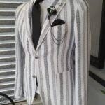 Black Slim Fit Striped Cotton Blazer