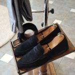 Black Suede Penny Loafers