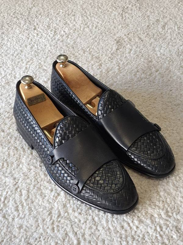 Leather Double Monk Strap Loafers