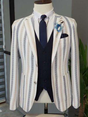 Aysoti Becksbourne Camel Slim Fit Striped Cotton Blazer
