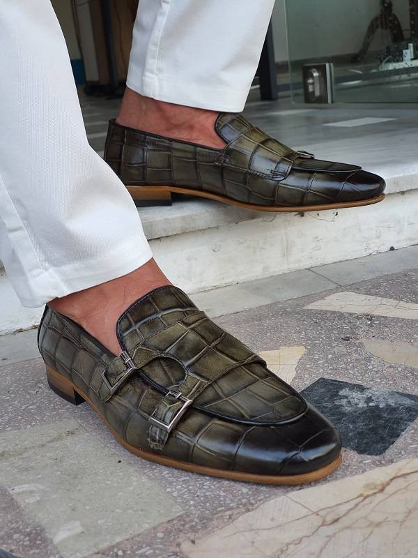 Green Double Monk Strap Loafers