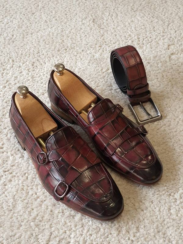 Burgundy Double Monk Strap Loafers