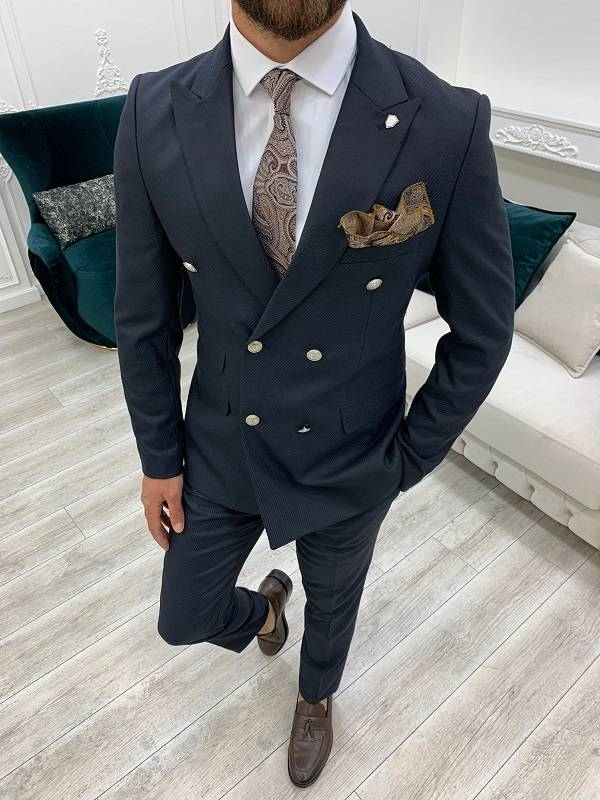 Slim Fit Double Breasted Suit