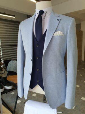 Blue Slim Fit Notch Lapel Linen Blazer