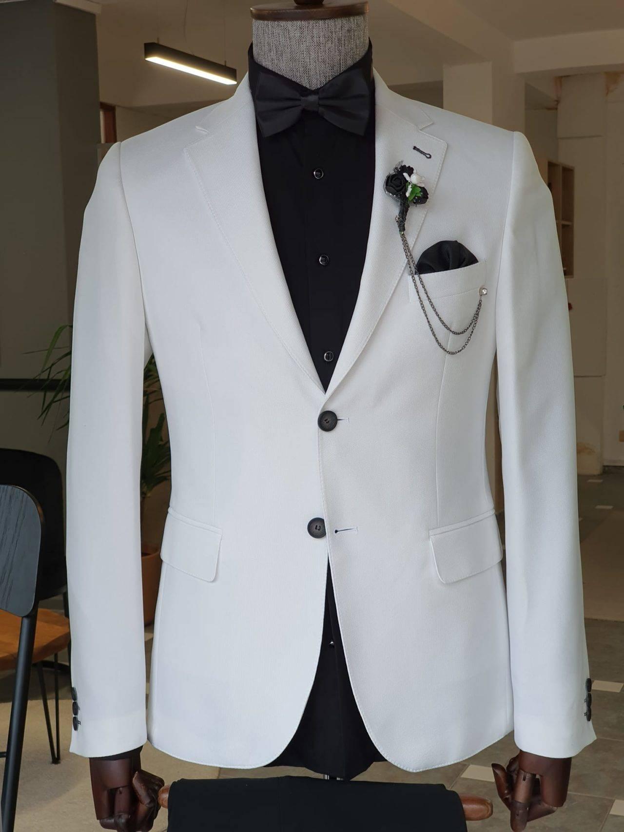 Aysoti Evora White Slim Fit Notch Lapel Cotton Blazer