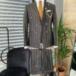 Black Slim Fit Double Breasted Pinstripe Suit