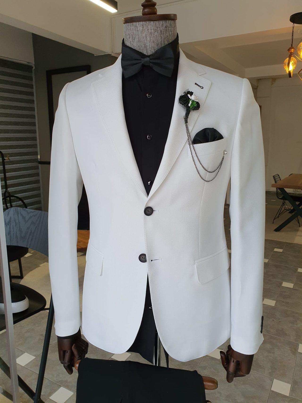 White Slim Fit Notch Lapel Cotton Suit