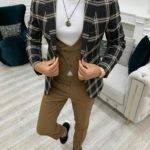 Black Slim Fit Peak Lapel Plaid Suit