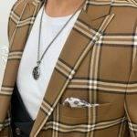 Brown Slim Fit Peak Lapel Plaid Suit