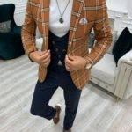 Cinnamon Brown Slim Fit Peak Lapel Plaid Suit