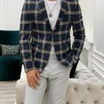Navy Blue Slim Fit Peak Lapel Plaid Suit