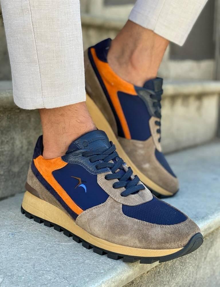 Navy Blue High-Top Sneakers