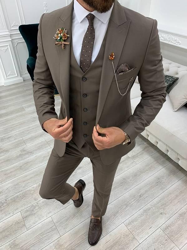Brown Slim Fit Suit