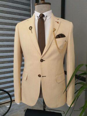 Beige Slim Fit Notch Lapel Cotton Suit