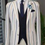 Camel Slim Fit Striped Notch Lapel Cotton Suit
