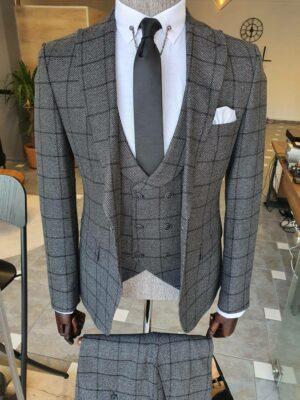 Gray Slim Fit Peak Lapel Plaid Suit