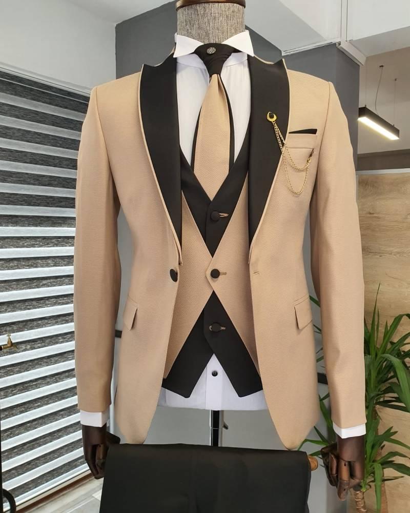 Beige Slim Fit Peak Lapel Wedding Suit