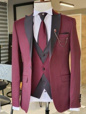 Burgundy Slim Fit Peak Lapel Wedding Suit