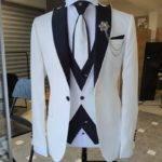 White Slim Fit Peak Lapel Wedding Suit