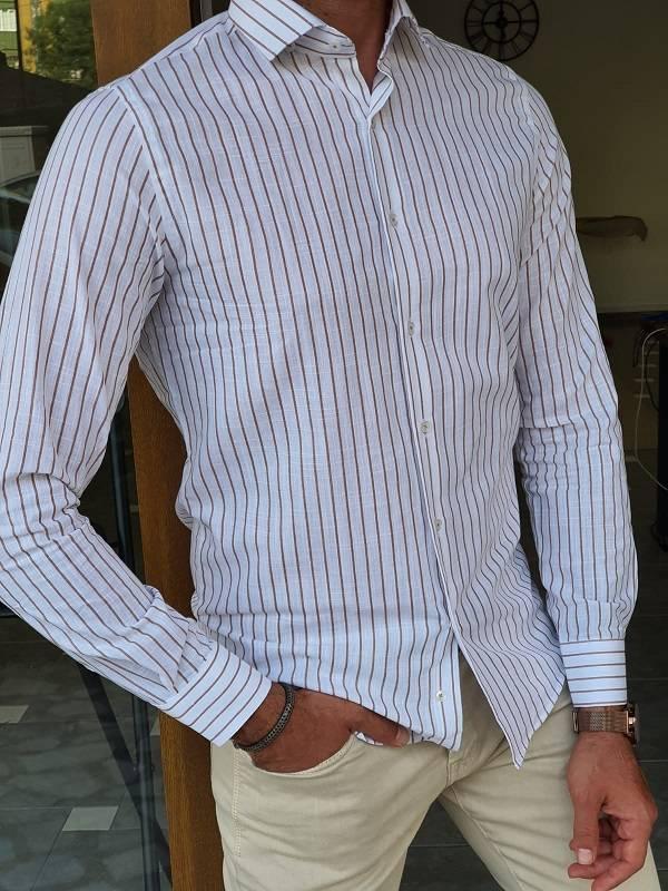 Beige Slim Fit Long Sleeve Striped Cotton Shirt
