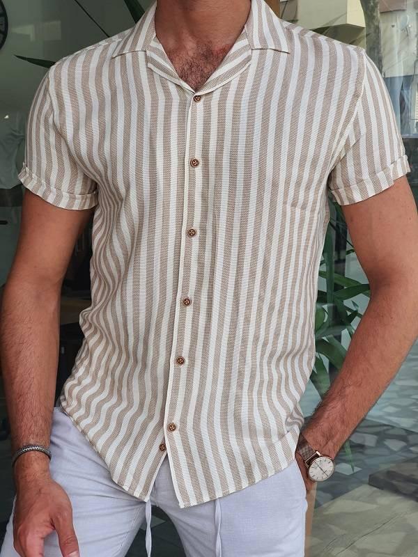 Beige Slim Fit Short Sleeve Striped Shirt