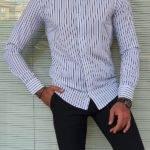 Black Slim Fit Long Sleeve Striped Cotton Shirt