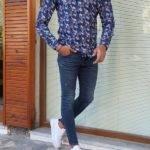 Blue Slim Fit Long Sleeve Cotton Shirt