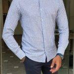 Blue Slim Fit Long Sleeve Striped Cotton Shirt