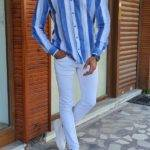 Blue Slim Fit Long Sleeve Striped Linen Shirt