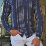 Slim Fit Long Sleeve Striped Cotton Shirt