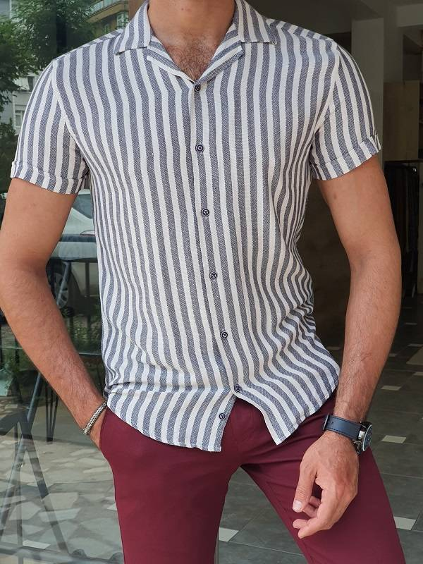 Navy Blue Slim Fit Short Sleeve Striped Shirt