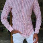 Red Slim Fit Long Sleeve Striped Cotton Shirt