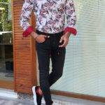 Red Slim Fit Long Sleeve Tropical Cotton Shirt