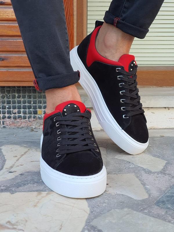 Black Suede High-Top Sneakers