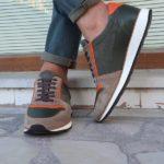 Beige Orange Suede Mid-Top Sneakers