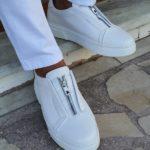 White Mid-Top Zipper Sneakers