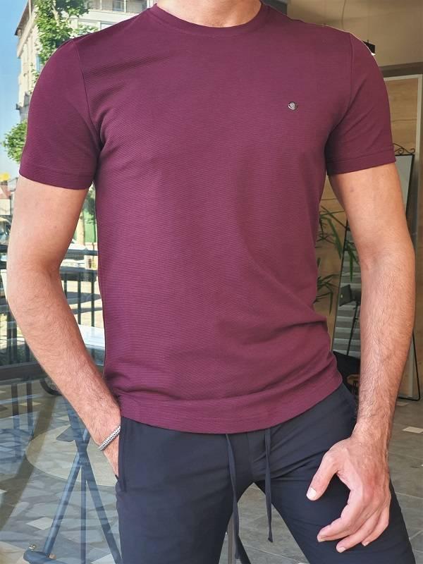 Plum Slim Fit Crew Neck T-Shirt