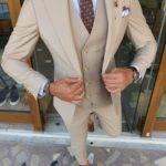 Beige Slim Fit Peak Lapel Wool Suit