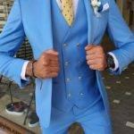 Blue Slim Fit Peak Lapel Wool Suit