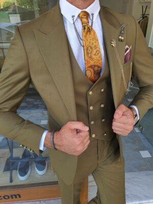 Khaki Slim Fit Peak Lapel Wool Suit