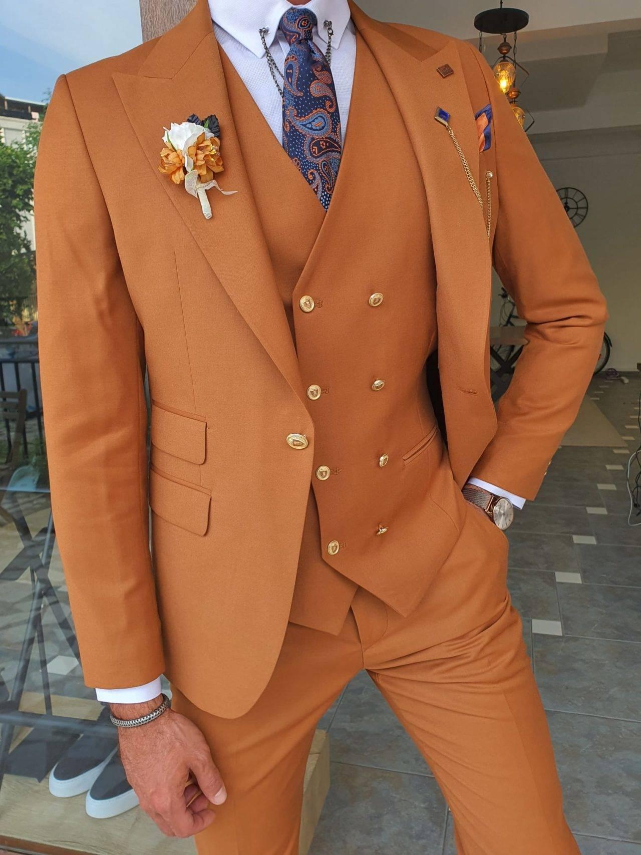 Tile Brown Slim Fit Peak Lapel Wool Suit