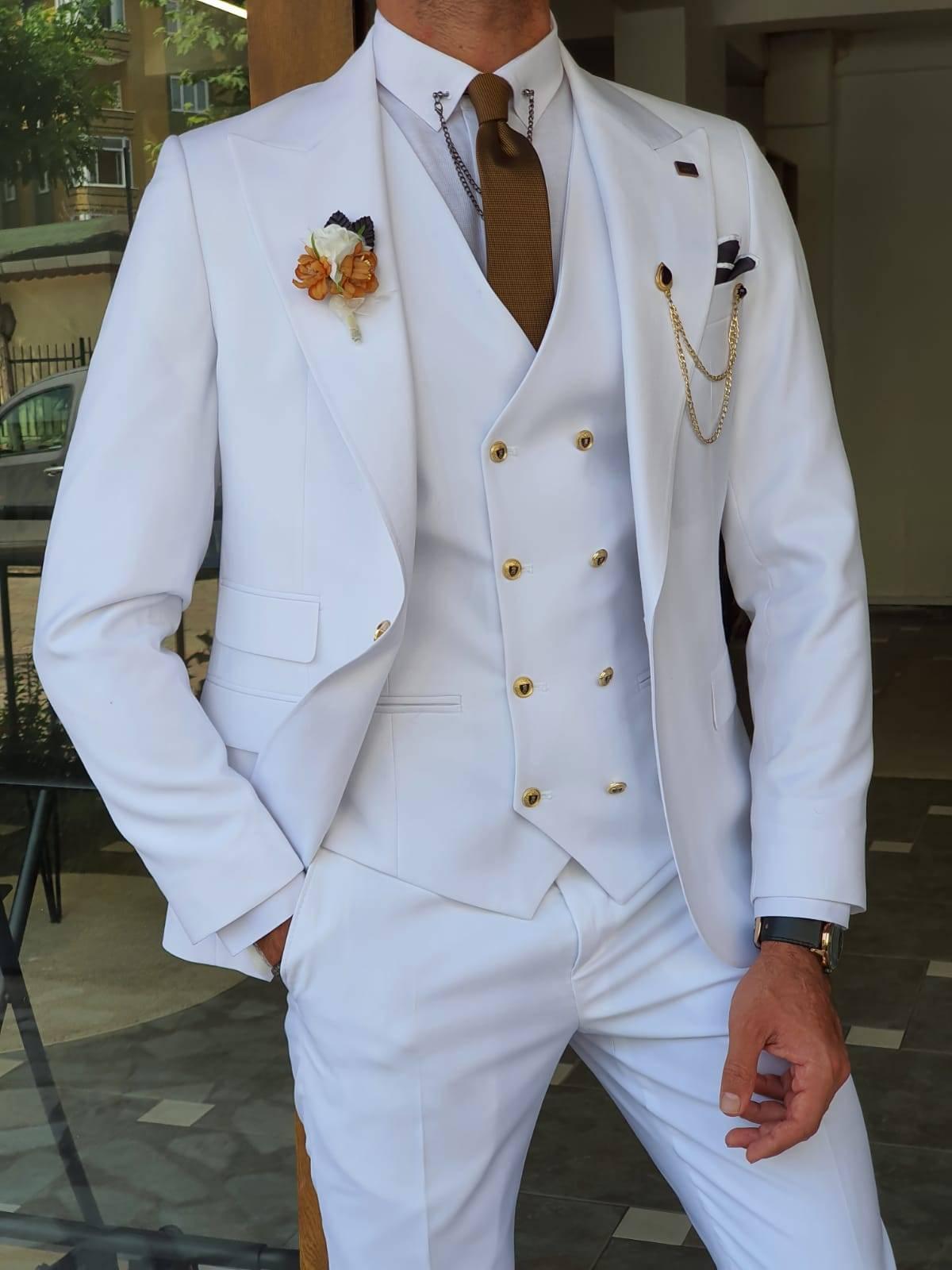 White Slim Fit Peak Lapel Wool Suit