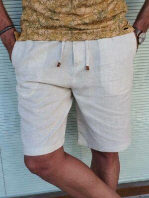 Beige Slim Fit Linen Shorts