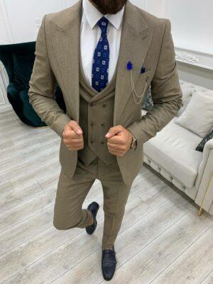 Brown Slim Fit Peak Lapel Suit