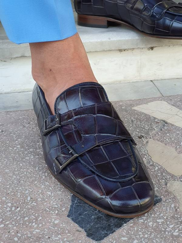 Navy Blue Double Monk Strap Loafers