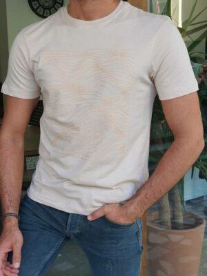 Beige Slim Fit Crew Neck T-Shirt