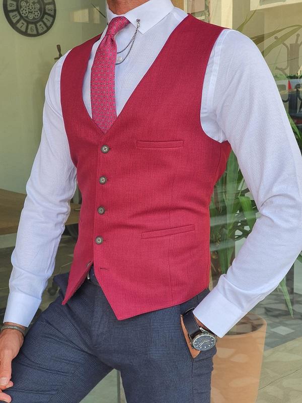 Red Slim Fit Linen Vest