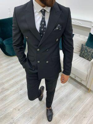 Black Slim Fit Peak Lapel Double Breasted Suit