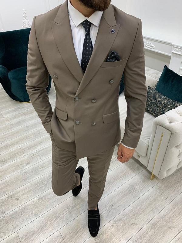 Brown Slim Fit Peak Lapel Double Breasted Suit