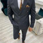Gray Slim Fit Peak Lapel Double Breasted Suit